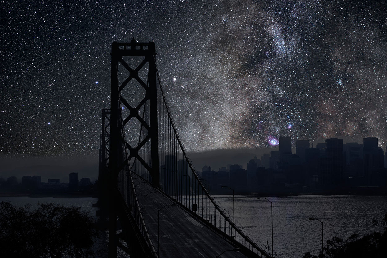 An imagined cityscape of San Francisco, with the lights off and bright stars in the sky.